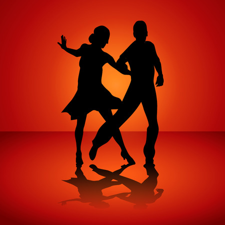 Black silhouettes of the man and the woman dancing jive. Vector illustration