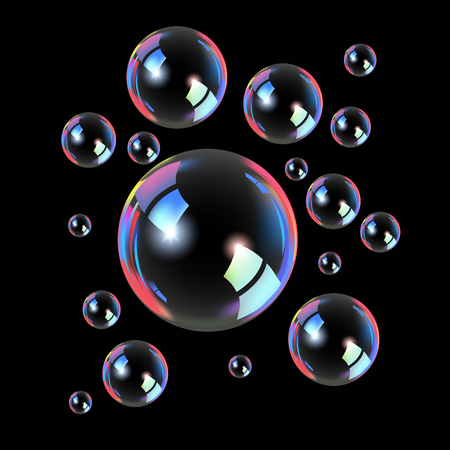 Soap bubbles isolated on black. Vector illustration Illustration