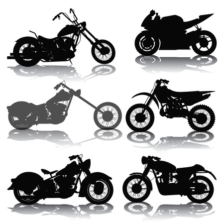 silueta ciclista: Juego de motos siluetas aisladas en blanco. Ilustración vectorial Vectores