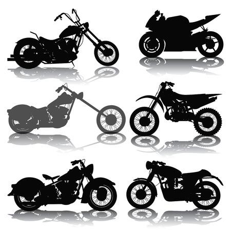 motor race: Set van motorfietsen silhouetten geïsoleerd op wit. vector illustratie