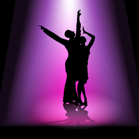 Silhouette of a dancing couple. Vector illustration