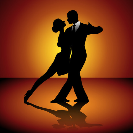 dancing silhouettes: Man and woman dancing tango. Vector illustration