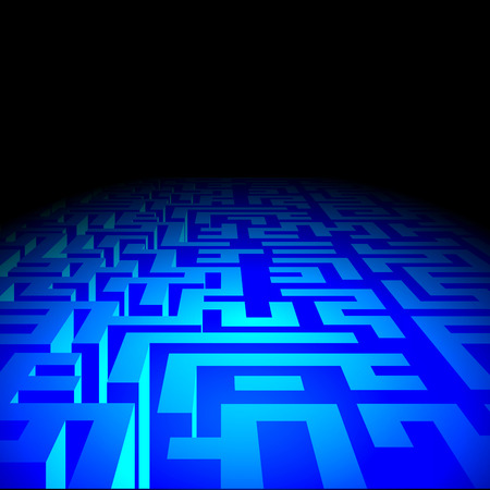 darkness: Blue endless Labyrinth corridors in darkness. Vector illustration