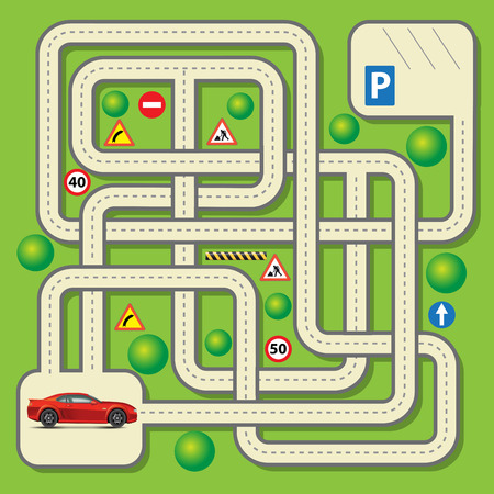 game: Labyrinth education game for children with car. Vector illustration