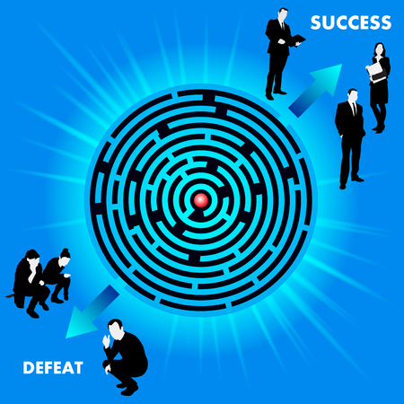 defeat: Round maze with route to success or defeat. Vector illustration
