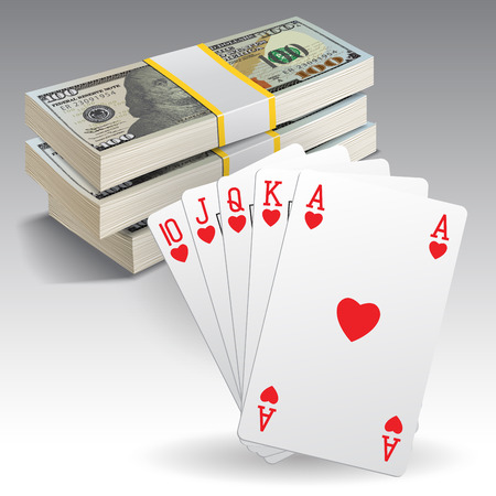 hand holding playing card: A royal straight flush playing cards poker hand in hearts and money. Vector illustration Illustration