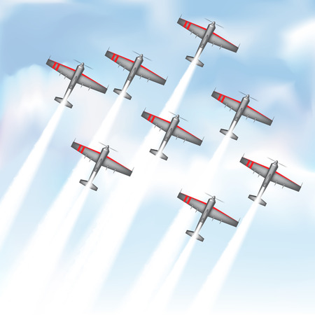 air show: Aerobatic group  performing their special show. Vector illustration Illustration