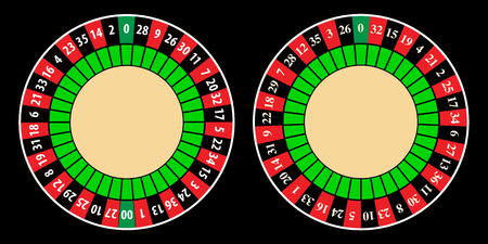 american roulette: Vector layout of european and american roulette table wheel