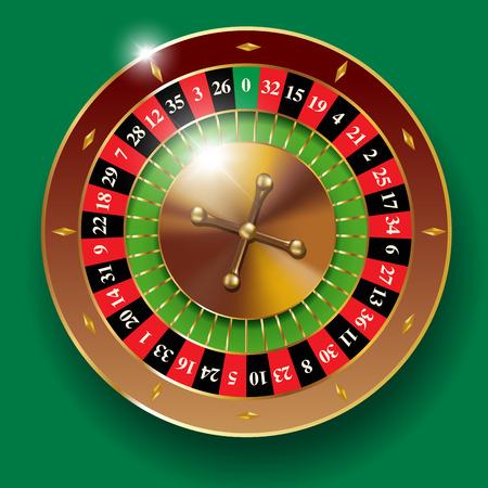 casino table: Detailed vector illustration of casino roulette wheel