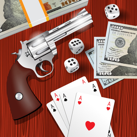 gangster with gun: Playing cards, dices, money and gun isolated on table background. Vector illustration