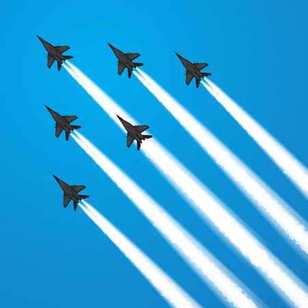 Military fighter jets during demonstration. Vector illustration