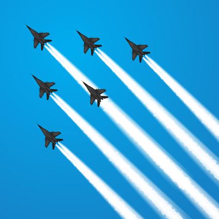 avion chasse: Avions de combat militaires pendant la démonstration. Vector illustration