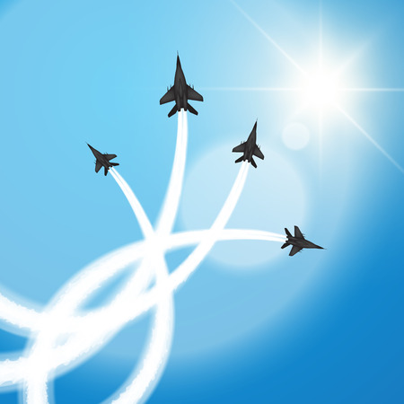 Military fighter jets perform aerial acrobatics. Vector illustration Stock Illustratie