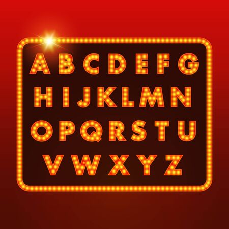 party night: Collection of glowing festive letters. Vector illustration
