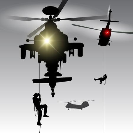 troops: Military helicopter drops landing troops. Vector illustration Illustration