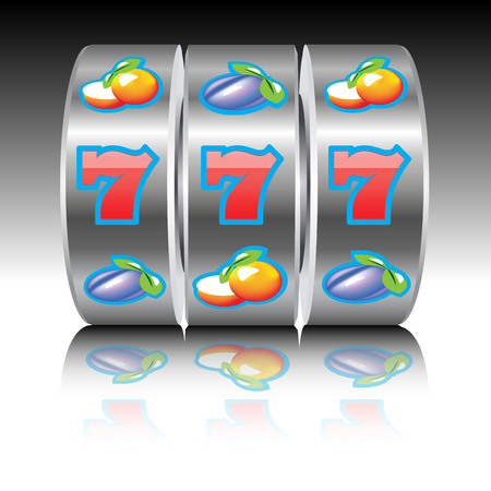 machines: Three sevens on slot machine. Vector illustration
