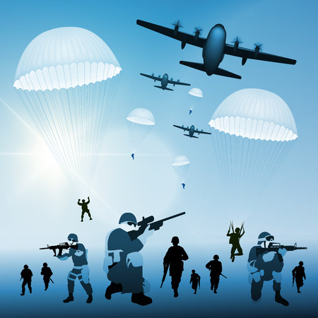 soldat silhouette: Avion militaire tombe parachutistes. Vector illustration