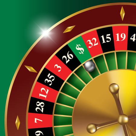 fortune: Classic casino roulette wheel with lucky sector. Vector illustration Illustration