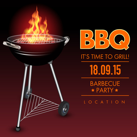 black smoke: Fire in a barbecue with an empty grill. Vector illustration