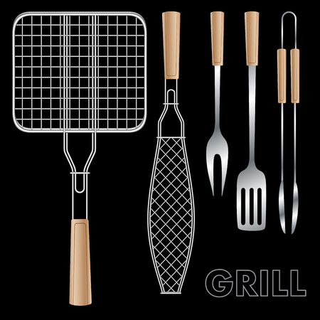 grilling: Accessories for barbecue isolated on black. Vector illustration