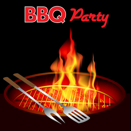 Fire in a barbecue with an empty grill. Vector illustration