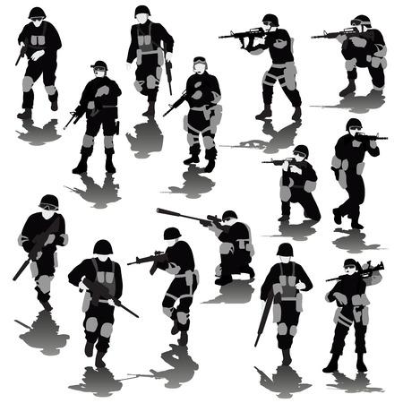 soldado: Conjunto de soldados que luchan siluetas aisladas en blanco. Ilustración vectorial