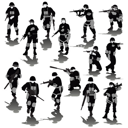 military silhouettes: Set of fighting soldiers silhouettes isolated on white. Vector illustration
