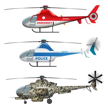 航空ショー: 救急、警察や軍のヘリコプターを白で隔離。ベクトル図