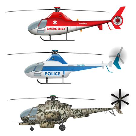 air show: Emergency, police and military helicopters isolated on white. Vector illustration