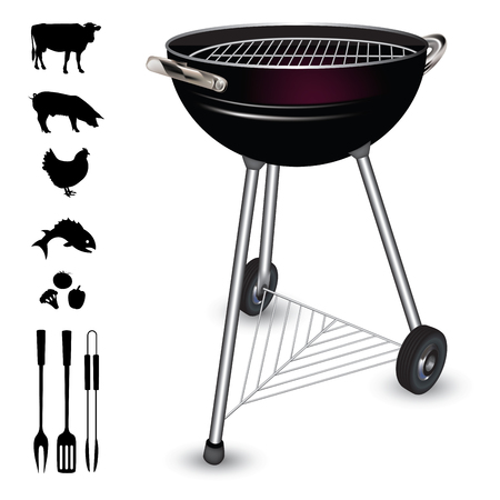 barbecue grill: Kettle barbecue grill isolated on white background. Vector illustration Illustration