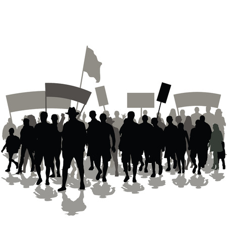Protesters crowd with banners and flags. Vector illustration Ilustração