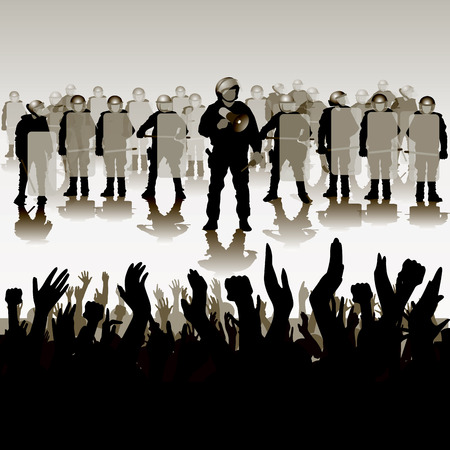 Police in full riot gear charge on protesting people. Vector illustration
