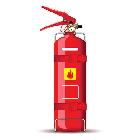 Red fire extinguisher isolated on white. Vector illustration Vettoriali