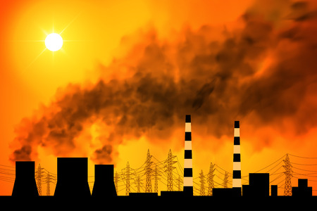 polluting: Polluting factory at dawn. Power plant and smoke from the chimneys. Vector illustration