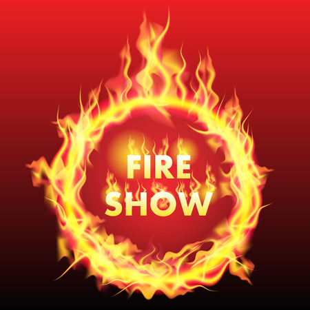 fire ring: Anillo de fuego aislado en el fondo. Ilustraci�n vectorial