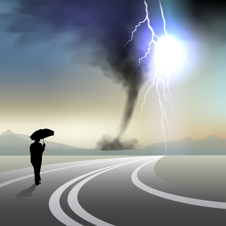 windstorm: Men with umbrella walking in storm. Vector illustration