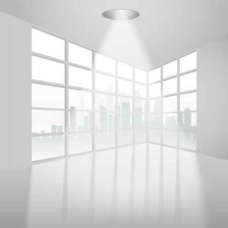 overlooking: Empty interior with ceiling lamp overlooking the city. Vector illustration Illustration