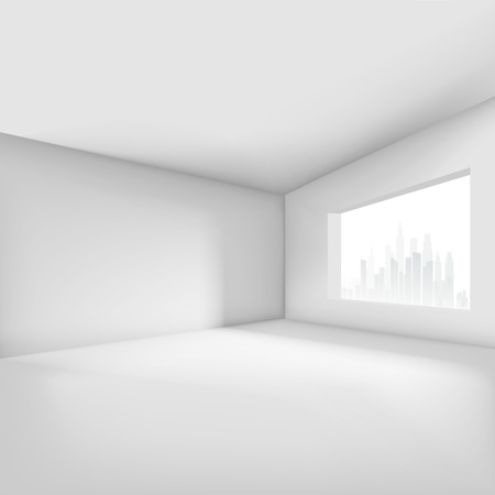 living room wall: Empty room with window overlooking the city. Vector illustration
