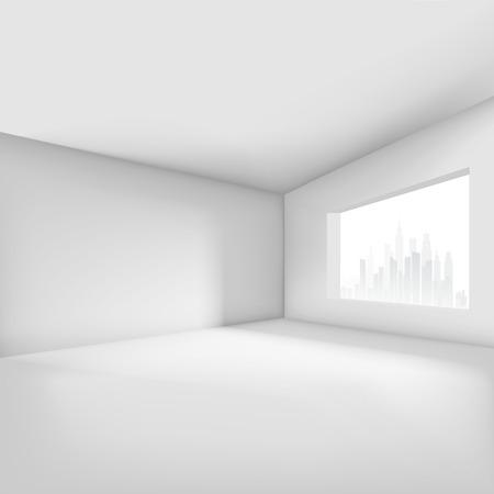 Lege kamer met raam met uitzicht op de stad. vector illustratie