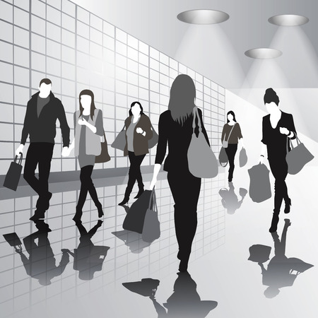 people shopping: People shopping at the mall. Vector illustration Illustration