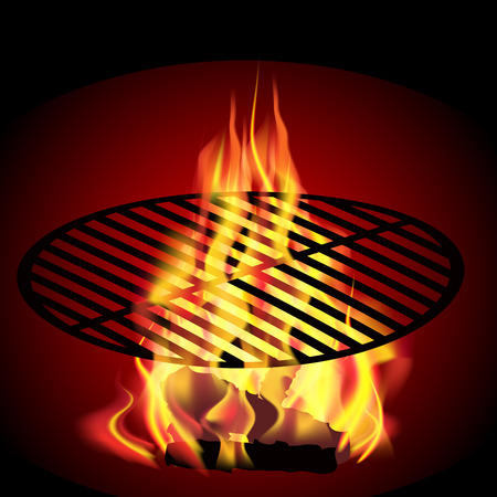 coals: Hot coals in the fire. The flames lick the coal, while preparing the barbecue. Vector illustration
