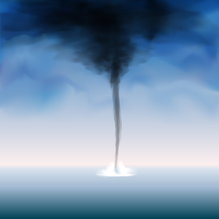 windstorm: Weather tornado at the sea with dark sky. Vector illustration