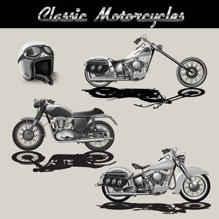 contorno: Conjunto de motocicletas aislados en el fondo. ilustración vectorial