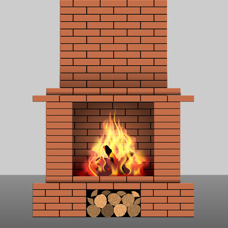 fireplace: Brick fireplace with fire and firewood. Vector illustration