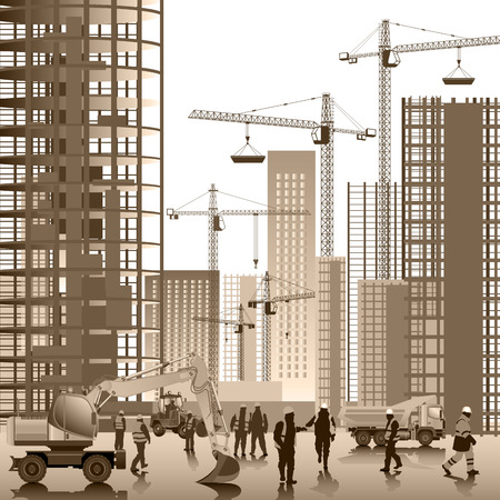 job site: Construction site. Buildings under construction. Vector illustration