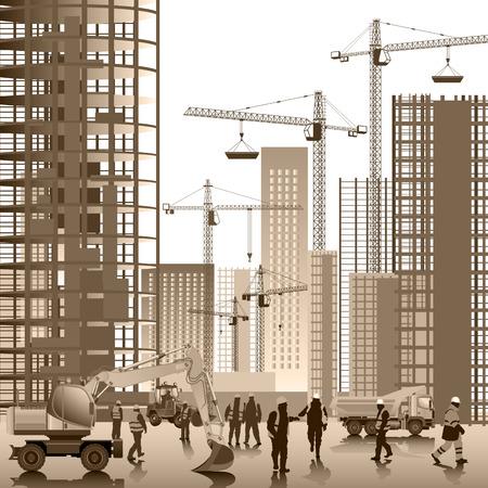 cantieri edili: Sito di costruzione. Edifici in costruzione. illustrazione di vettore Vettoriali