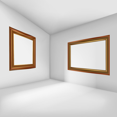 living room design: Empty room with blank picture frames. Vector illustration Illustration