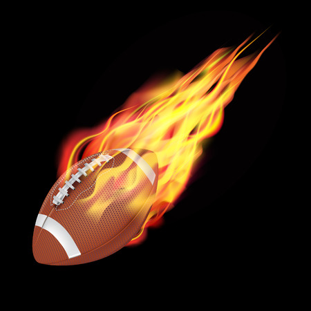 closeup: American football ball in fire flying down. Isolated on dark background. Vector illustration