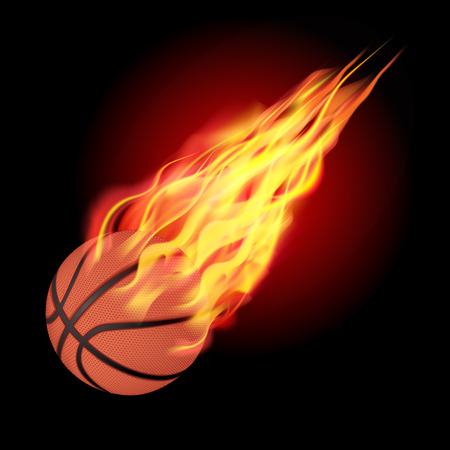 Basketball in fire flying down. Isolated on dark background. Vector illustration Illustration