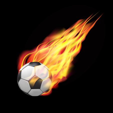 pelota de futbol: pelota de fútbol en el fuego volando hacia abajo. Aislado en el fondo oscuro. ilustración vectorial Vectores